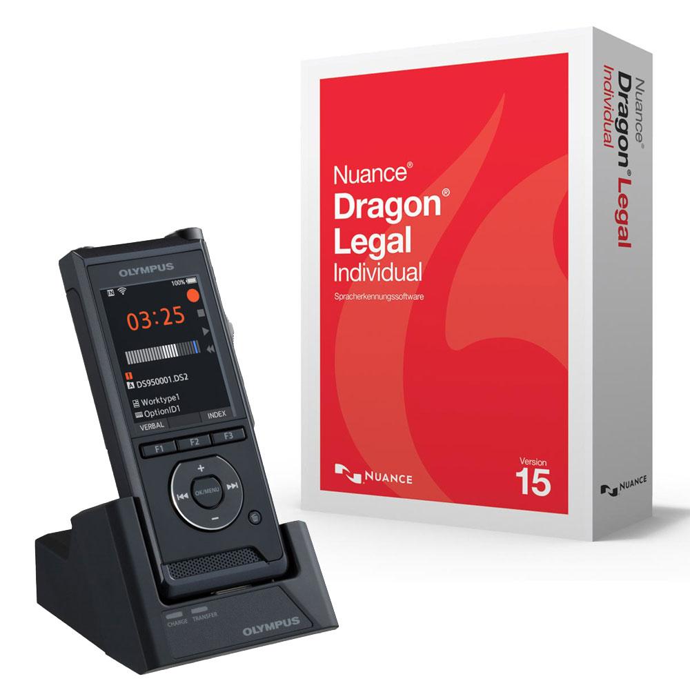 Diktiergerät Olympus DS-9500 mit Spracherkennung Dragon Legal 15 Individual