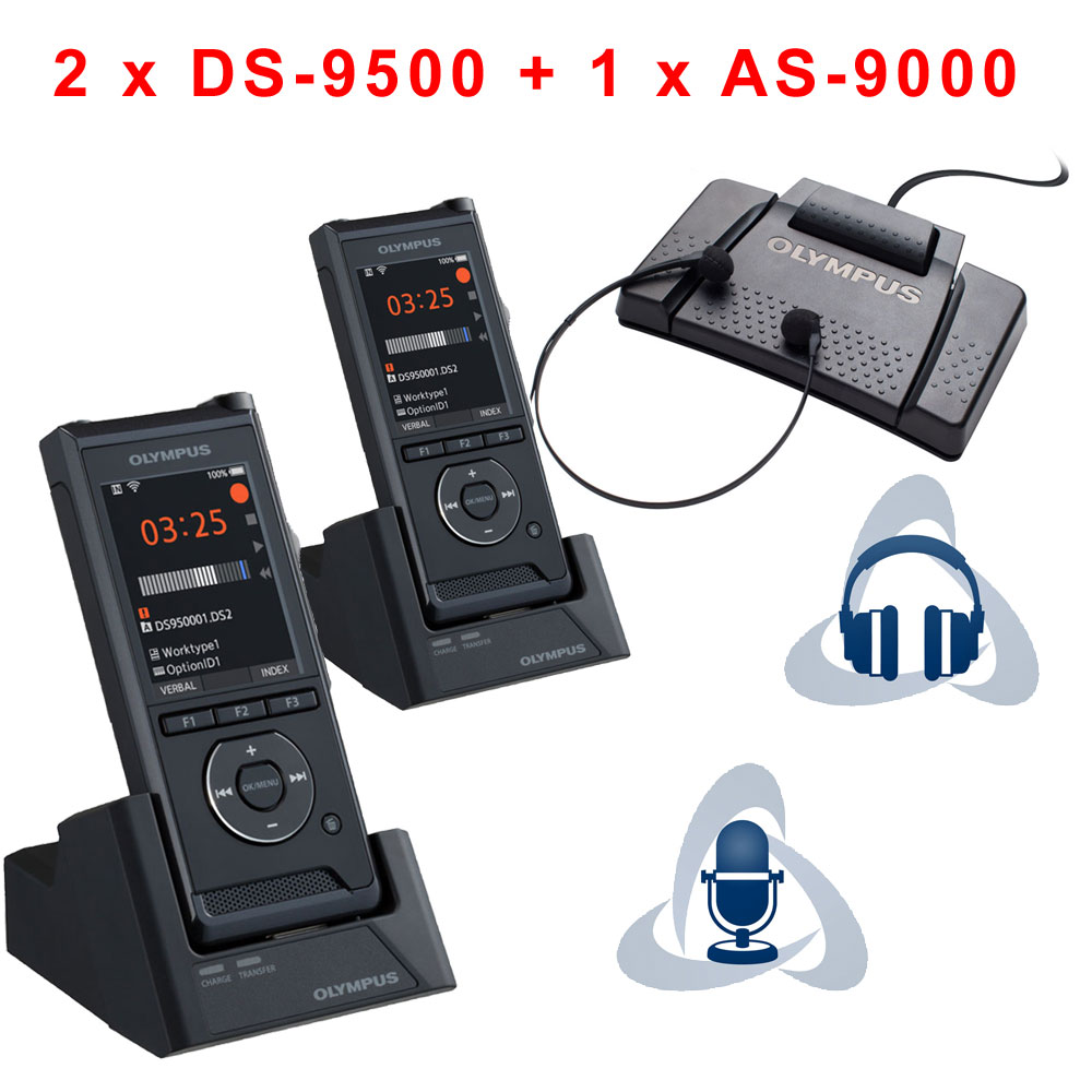 Sparset 2 x Diktiergerät DS-9500 + Wiedergabeset AS-9000