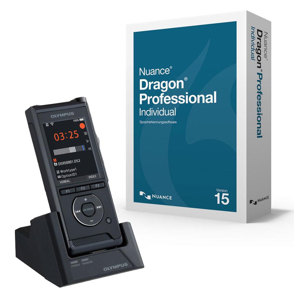 Diktiergerät Olympus DS-9500 mit Spracherkennung Dragon Professional 15 Individual