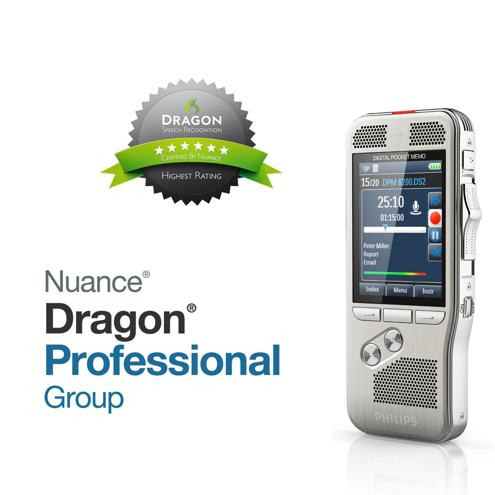 Philips Diktiergerät DPM 8200 mit Spracherkennung Dragon Professional Group 15