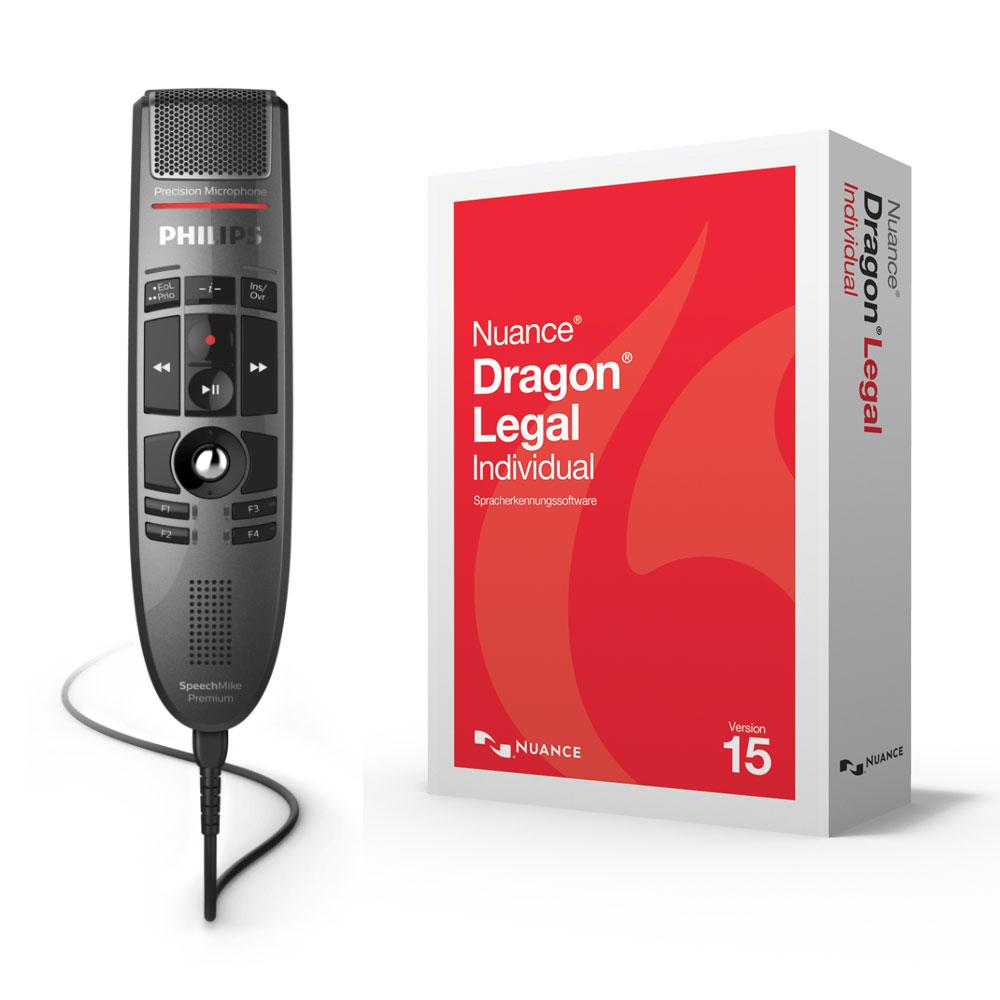Philips SpeechMike Premium LFH3500 mit Spracherkennung Dragon Legal Individual 15