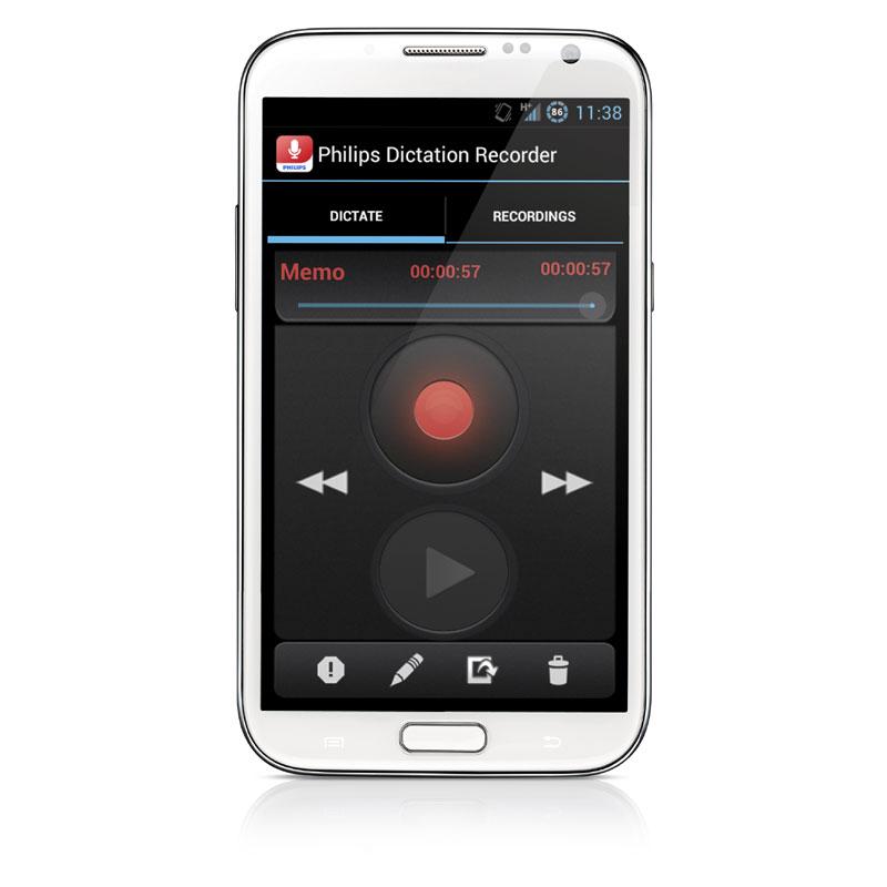 Philips Diktier App / Diktierrekorder für Android Smartphone LFH0747