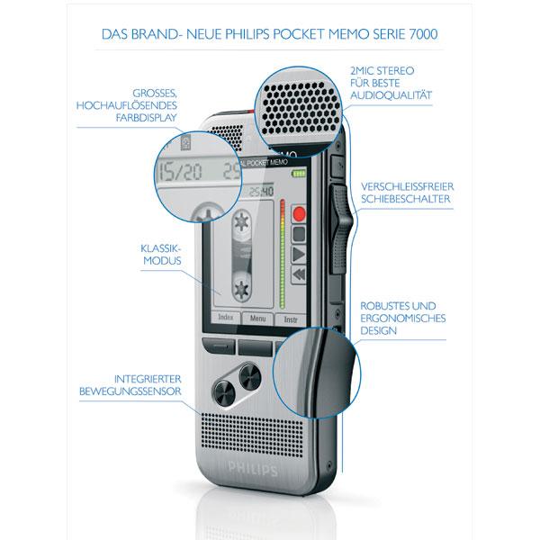 Philips Diktiergerät mit Schiebeschalter DPM7200